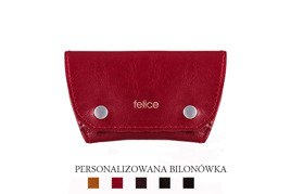Leather coin wallet FELICE FA10 RED + engraving