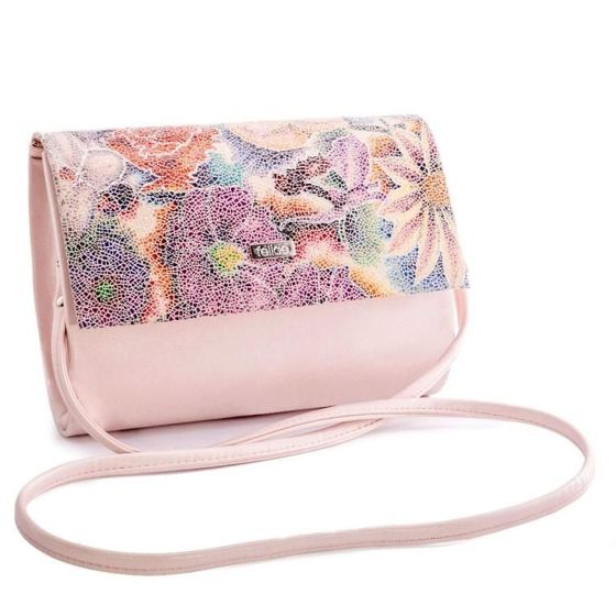 Women's Clutch bag with flowers Felice F14D-powder pink