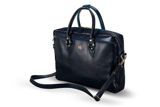 Genuine leather women's laptop bag Marina navy