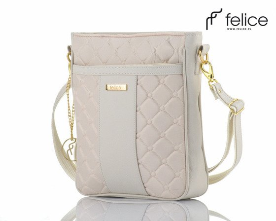 Quilted creme messenger bag Felice Aurora A02