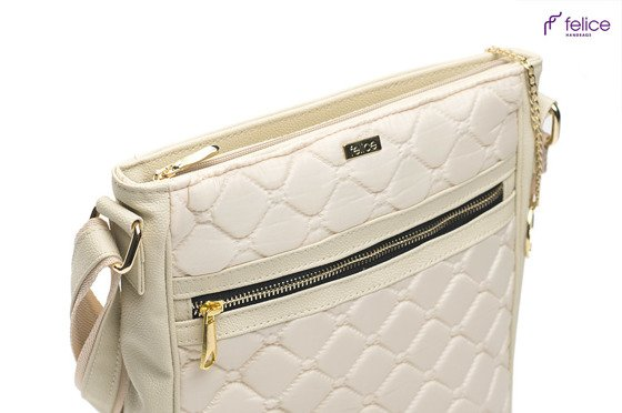 Quilted creme messenger bag Felice Aurora A10