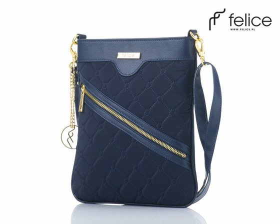 Quilted navy blue messenger bag Felice Aurora A07