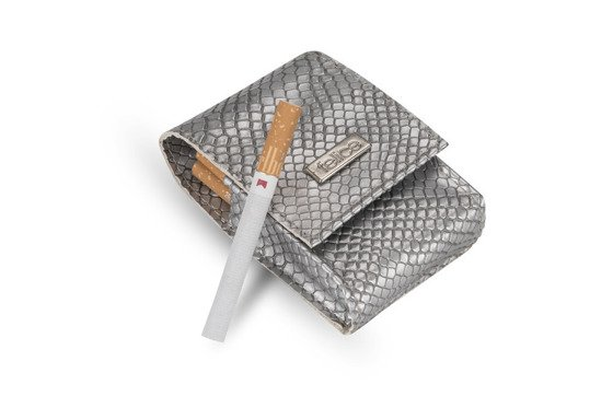 WOMEN'S ECO LEATHER CIGAR CASE FELICE FA14 STANDARD SILVER SNAKE