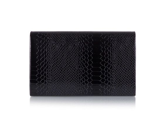 Women's Clutch bag Felice F13G black shiny snake