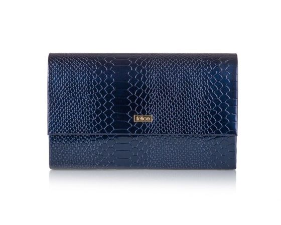 Women's Clutch bag Felice F13G navy shiny snake