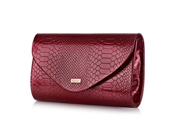 Women's Clutch bag Felice F15G burgundy snake shiny