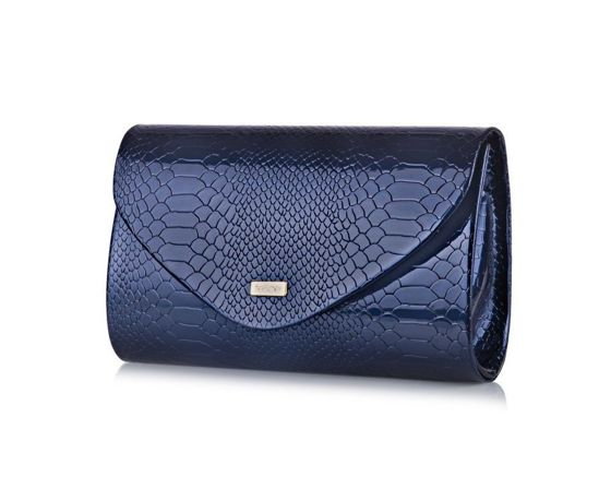 Women's Clutch bag Felice F15G navy snake shiny