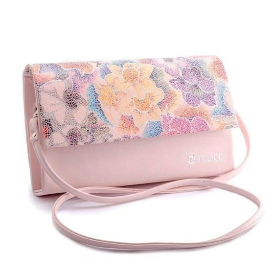 Women's Clutch bag with flowers Felice F13D- powder pink